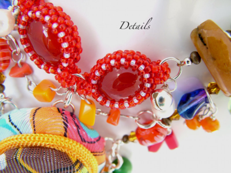 Beaded Bezel Red Quartz Cabochon