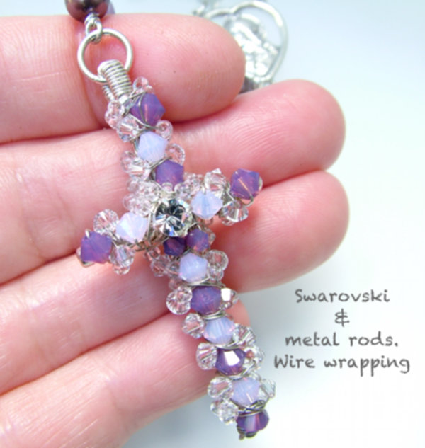 Swarovski Handmade Cross in Wire Wrapping