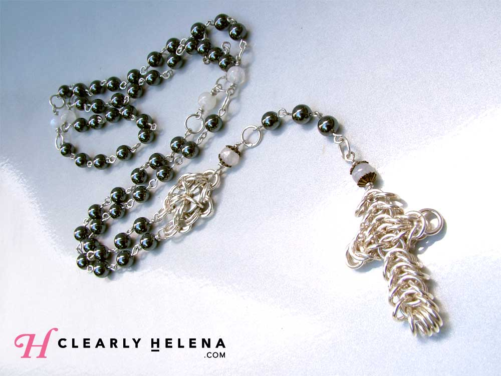 Hematite and Moonstone Rosary