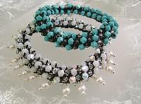 Turquoise Diamond & White Alabaster crochet bangles