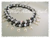 White Alabaster Pearl Crochet Bracelet