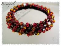 Fireopal Beaded Crochet Bangle