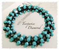 Turquoise Diamond Crochet Bangle