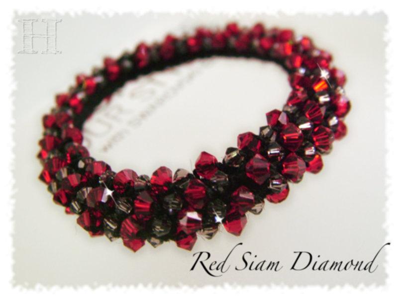 Red Siam Diamond crochet bracelet