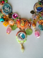 close up of mix media necklace