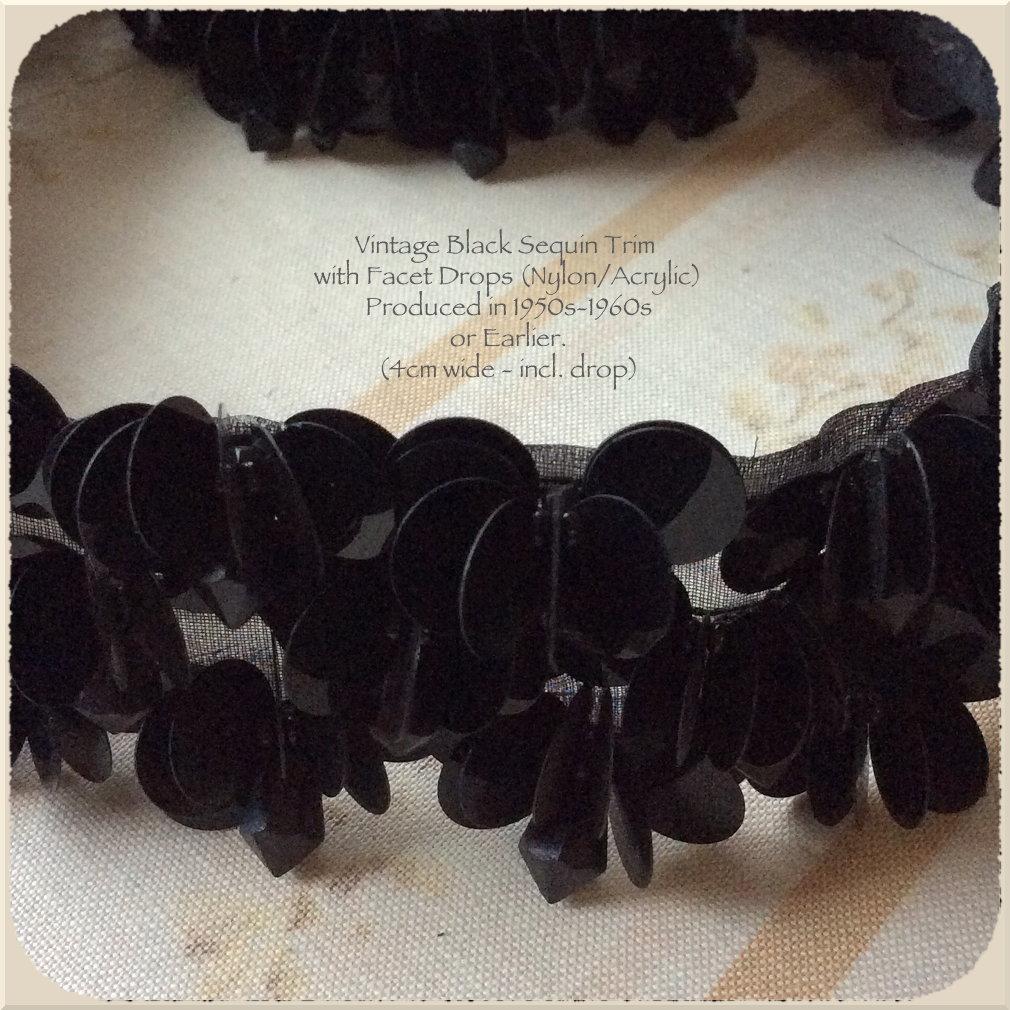 Vintage Trim: Black Sequins with Facet Drops