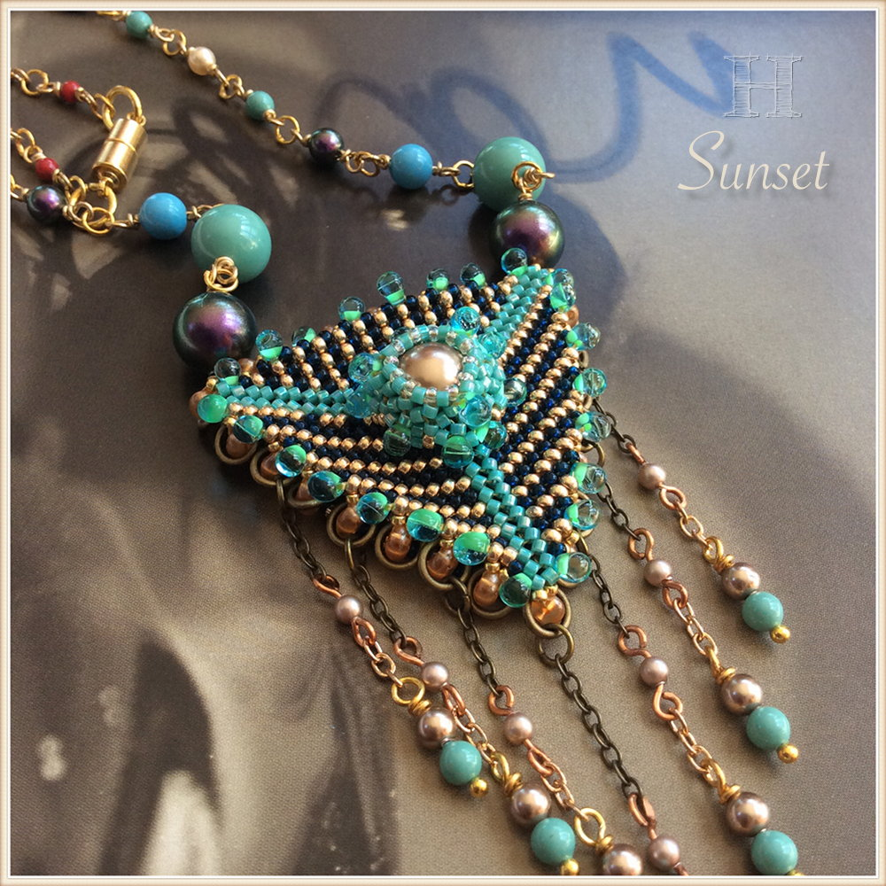 Beaded Geometric Triangle Dangles - Sunset necklace (CH0361)