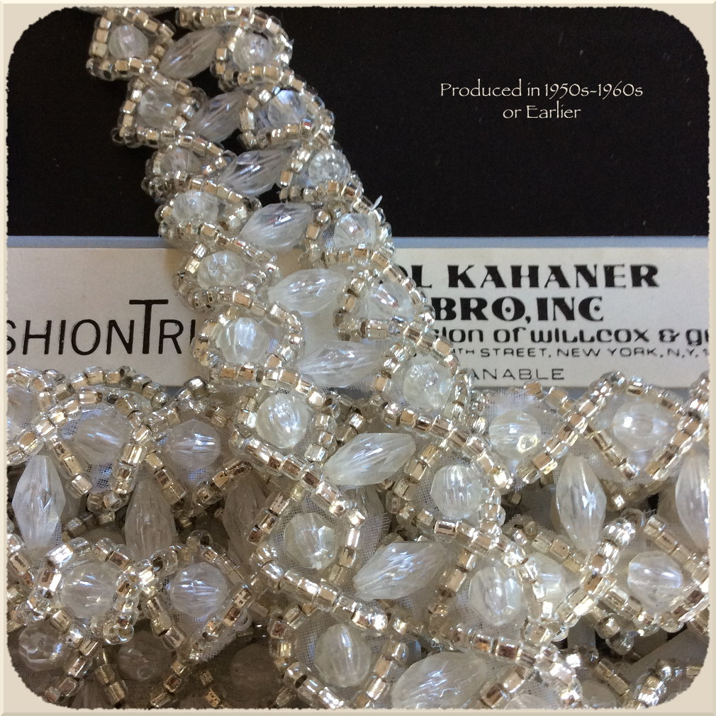 Kahaner vintage Open-work trim in nylon beads and silver-lined vintage glass seed beads