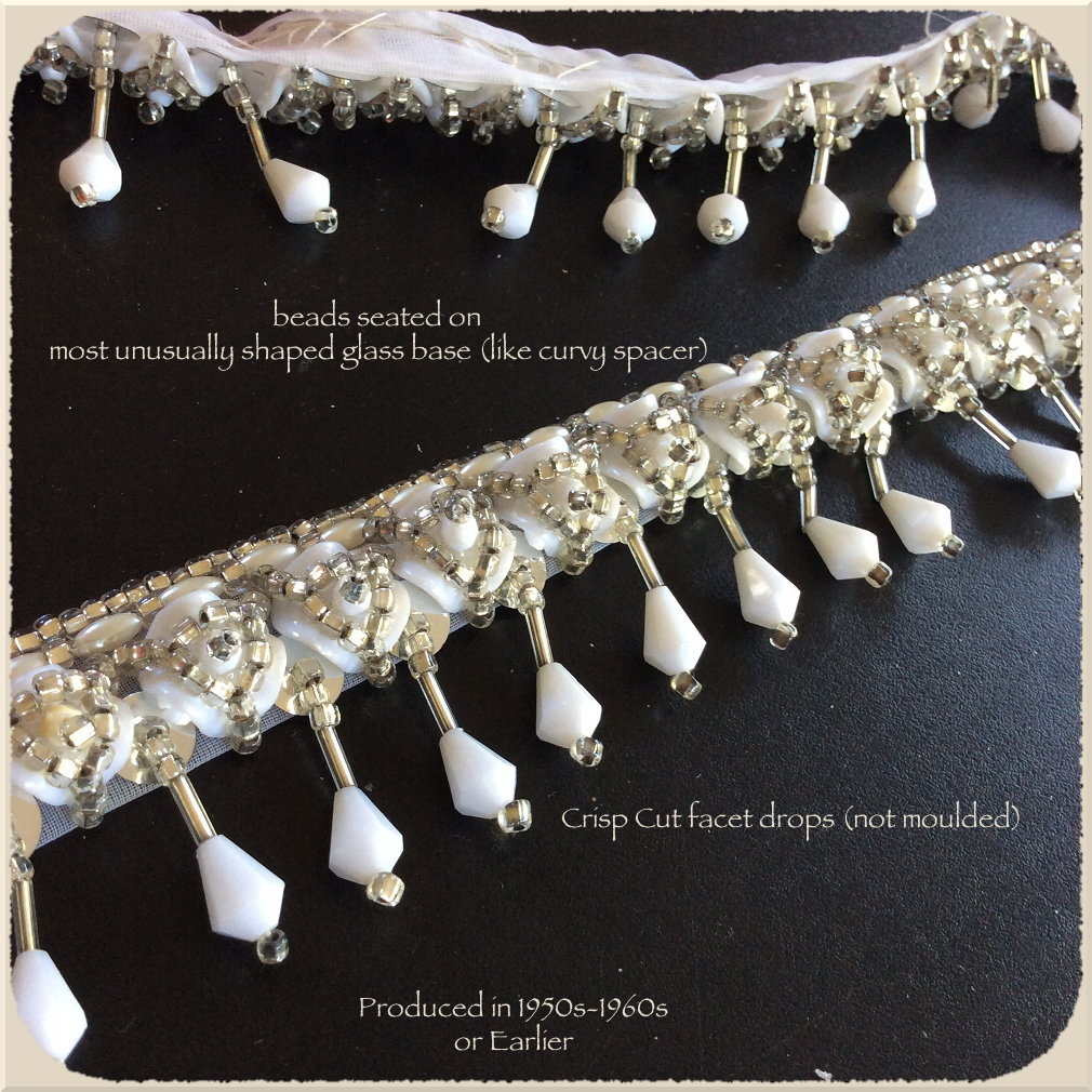 Vintage Beaded Trim with Faceted Drops