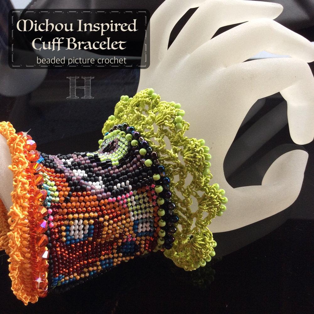 Michou Inspired Cuff Bracelet (CH0363) - beaded picture crochet