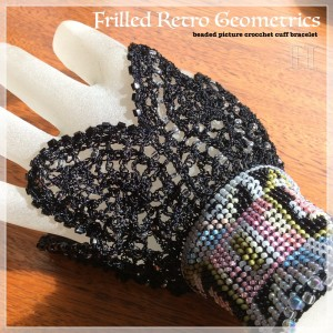 beaded picture crochet cuff CH0367-002