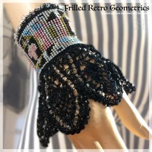 beaded picture crochet cuff CH0367-003