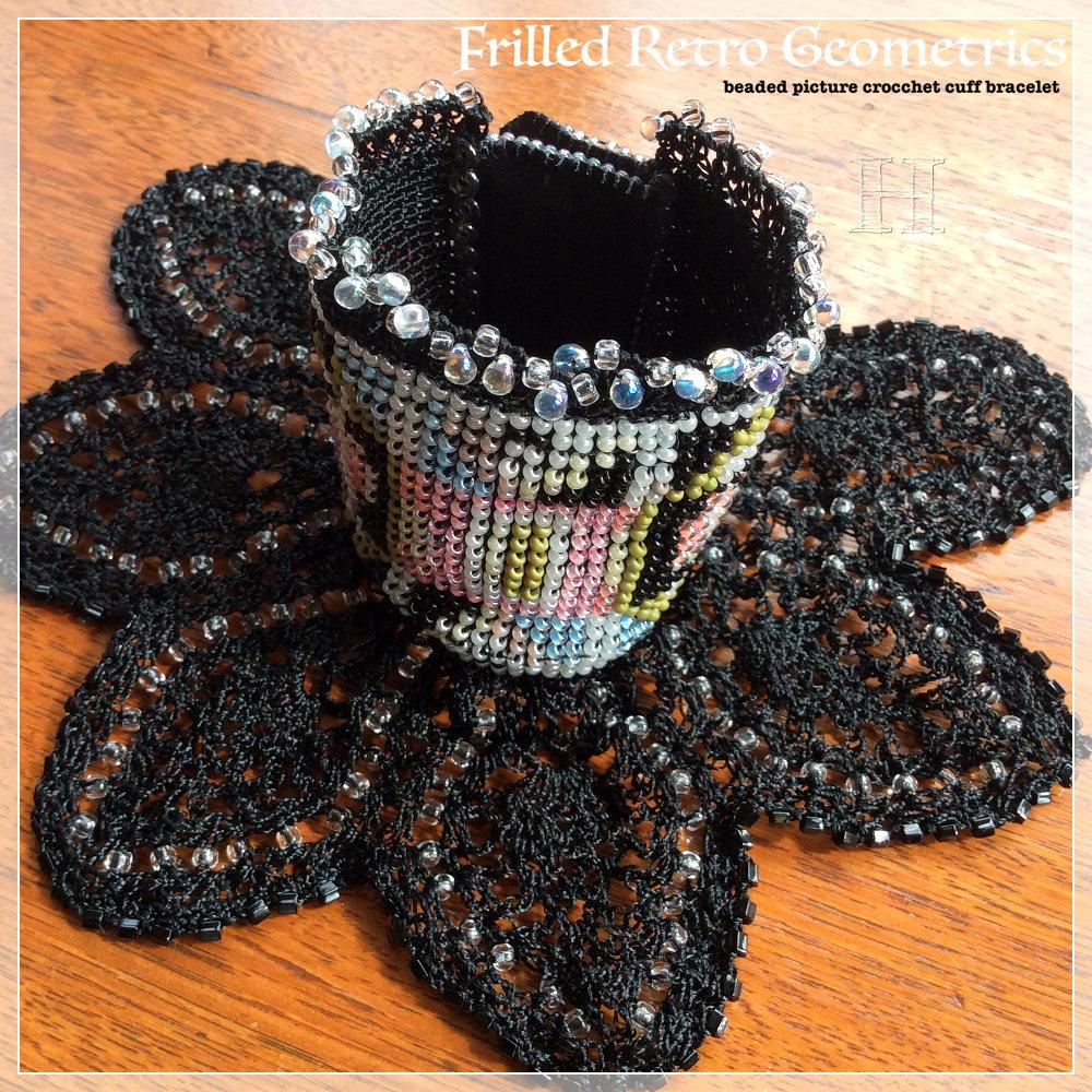 Beaded Picture Crochet Cuff Bracelet (CH0367)