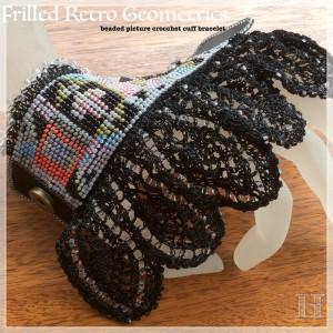 beaded picture crochet cuff CH0367-005