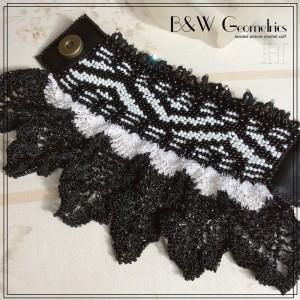 B&w Geometric Beaded Crochet Cuff Bracelet (CH0364)