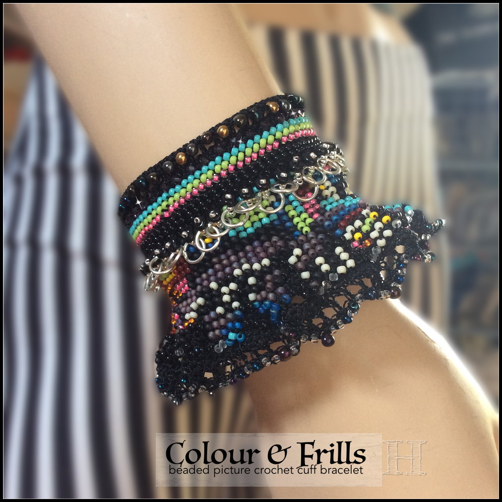 Colour & Frills Cuff Bracelet - Beaded Picture Crochet ・ClearlyHelena