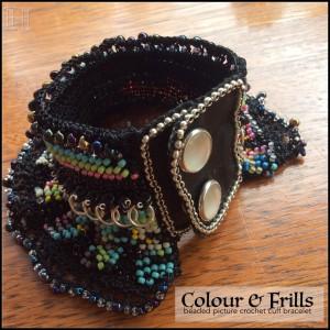 Colour & Frills beaded picture-crochet cuff bracelet