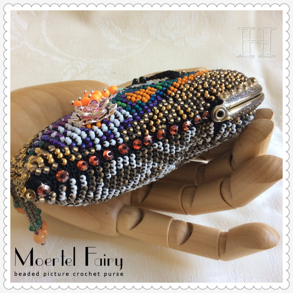 Moertel Fairy purse; beaded picture crochet (sides)