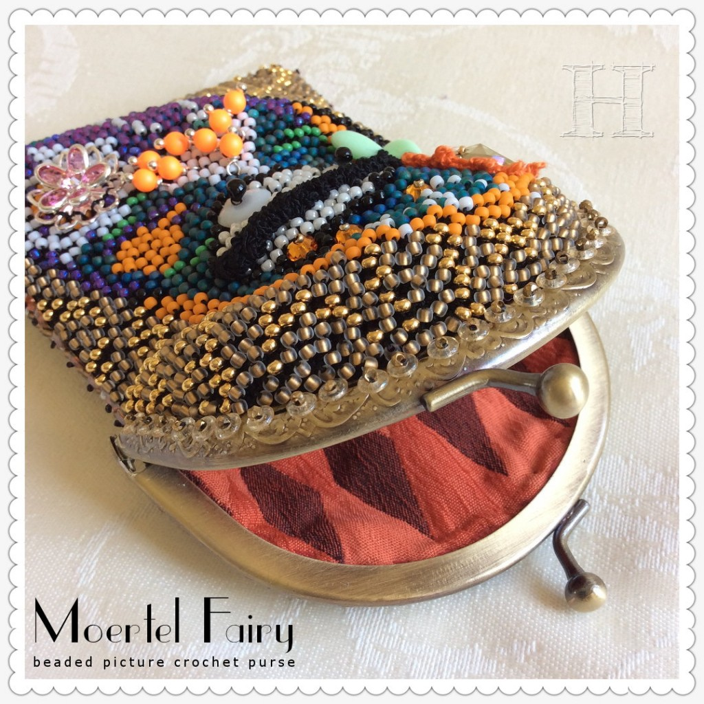 Moertel Fairy purse; beaded picture crochet (lining)