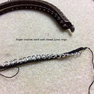 starting beaded crochet purse with finger crochet cord