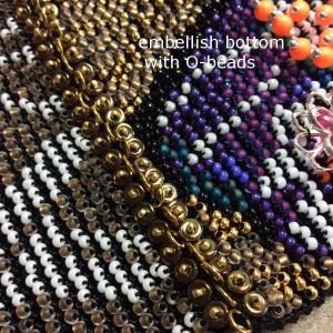 embellishing the Moertel Fairy beaded crochet purse