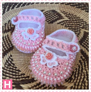 pink flower baby shoes-001