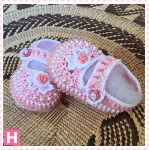 pink flower baby shoes-005