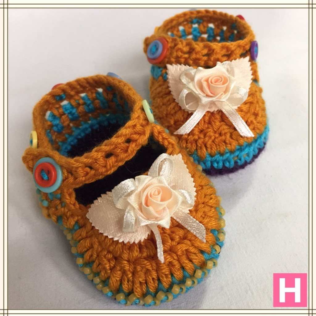 rose and buttons baby shoes CH0389-001