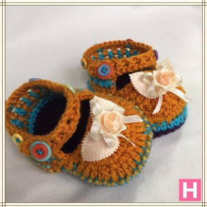 rose and buttons baby shoes CH0389-005