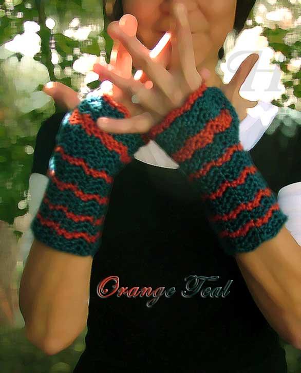 orange teal gloves ch0263d-020