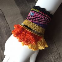 Modern Frills cuff – beaded crochet bracelet