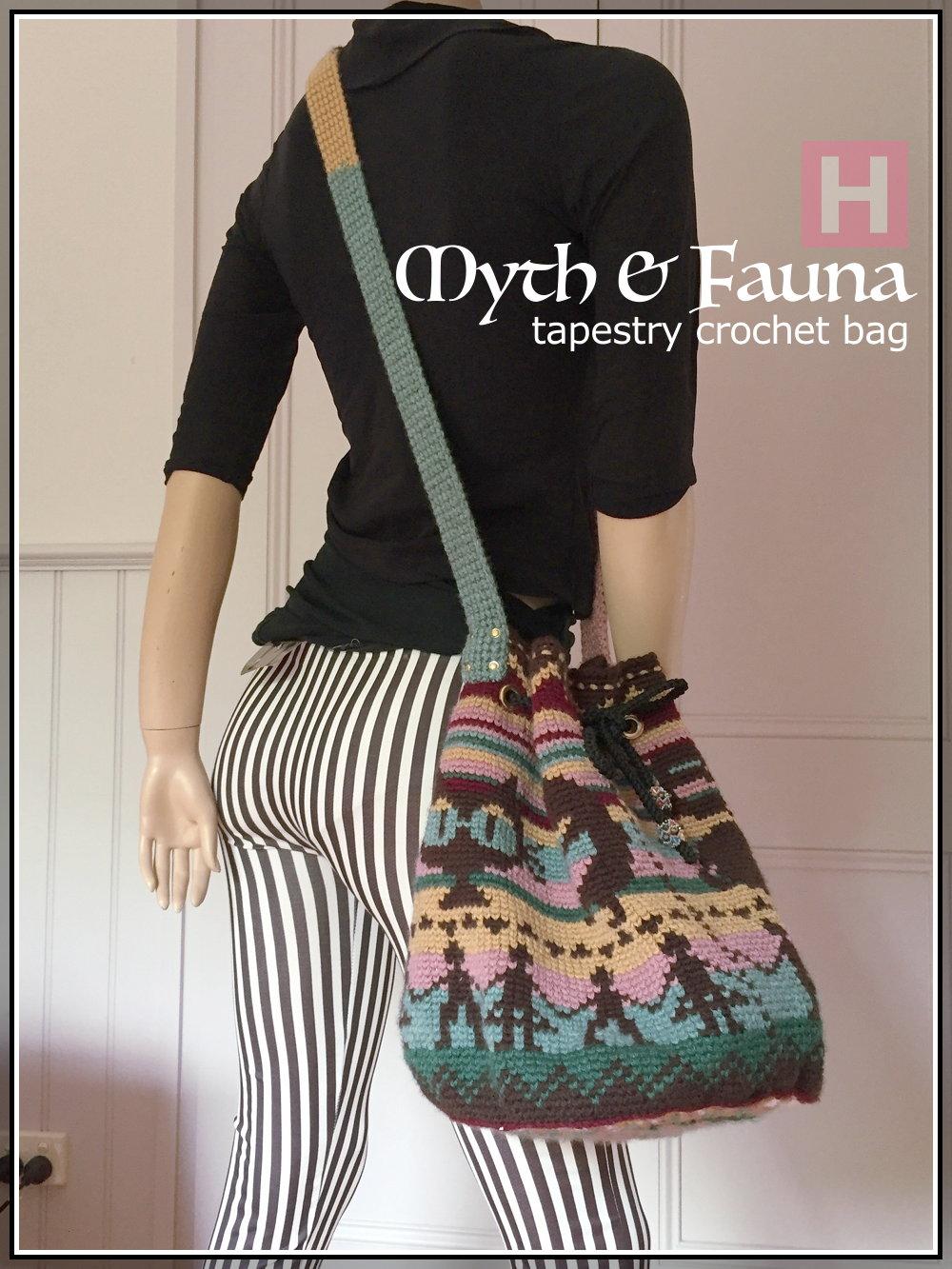 Drawstring Tapestry Crochet Bag - Muted Hues of Myth & Fauna ...