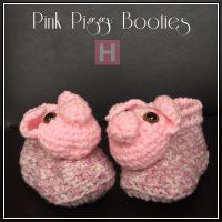 Pink Piggy Baby Booties
