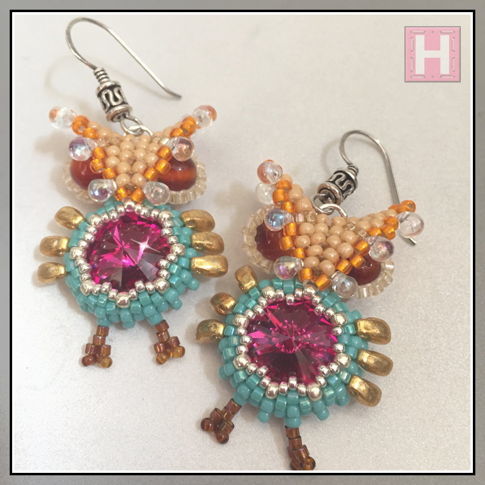 beaded owl earrings CHO425-001