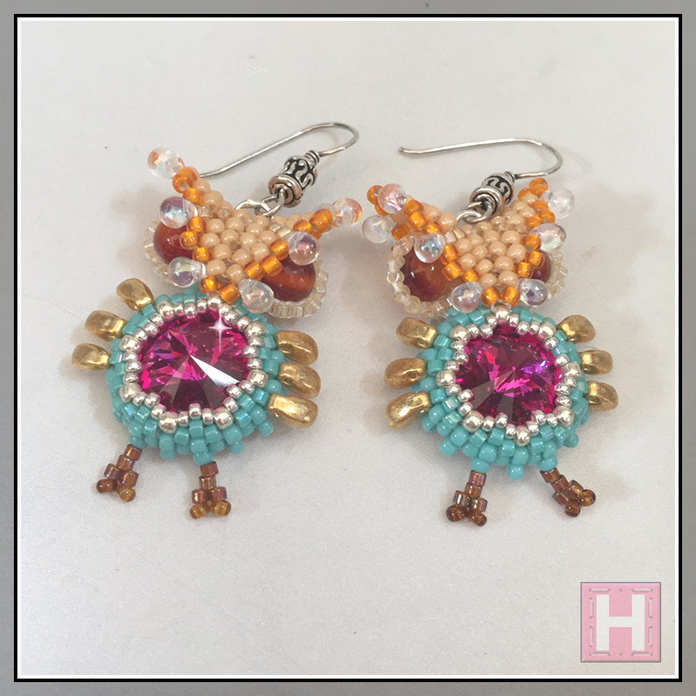 beaded owl earrings CHO425-002
