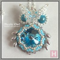 Nicole Owl – beaded owl pendant necklace
