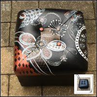 Zentangle Footstool – transforming a discard pouffe