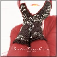 Flower Gloves – beaded crochet fingerless gloves