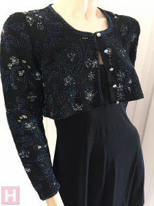 black bridal crop jacket CH0437-005