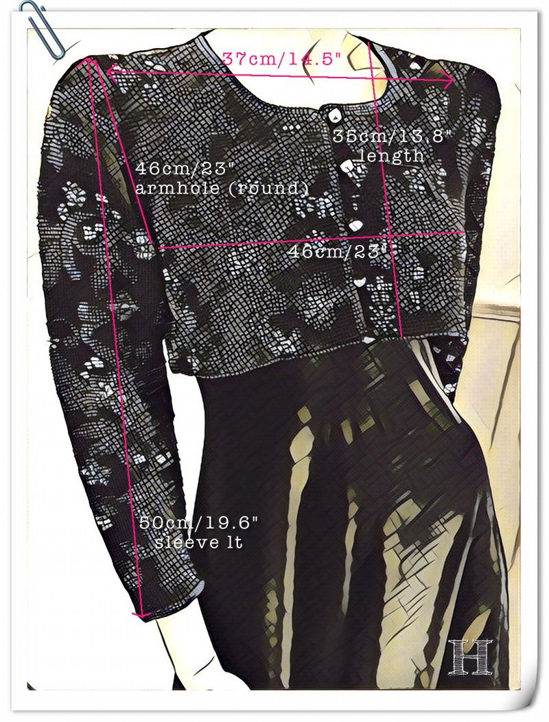 black bridal crop jacket - measurement