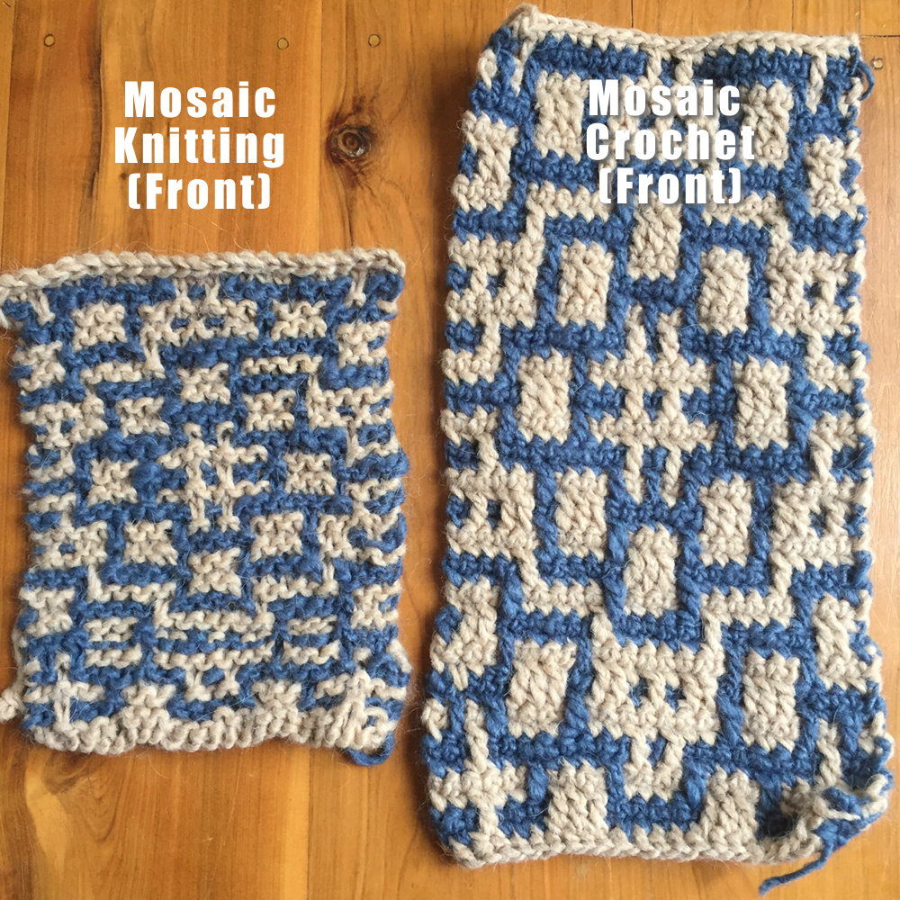 Knitting Crocheting : Mosaic knitting vs crochet ・clearlyhelena
