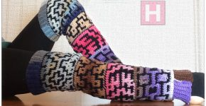 Winter Mosaics Leg Warmers Boot Covers – in Mosaic Crochet