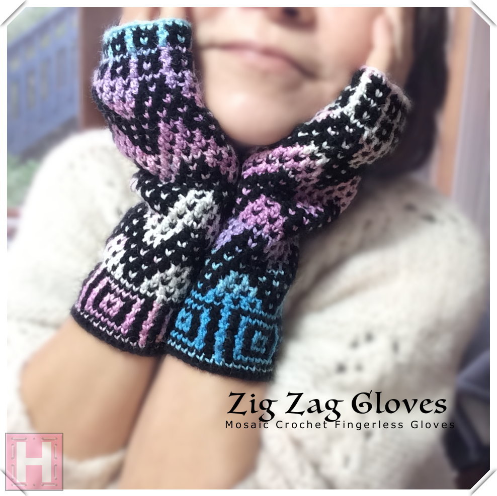 zig zag fingerless gloves CH0439-000