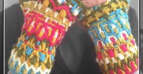 Crochet Fingerless Gloves – Colour Burst