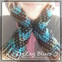 Fingerless Gloves in Mosaic Crochet: ZigZag Blues