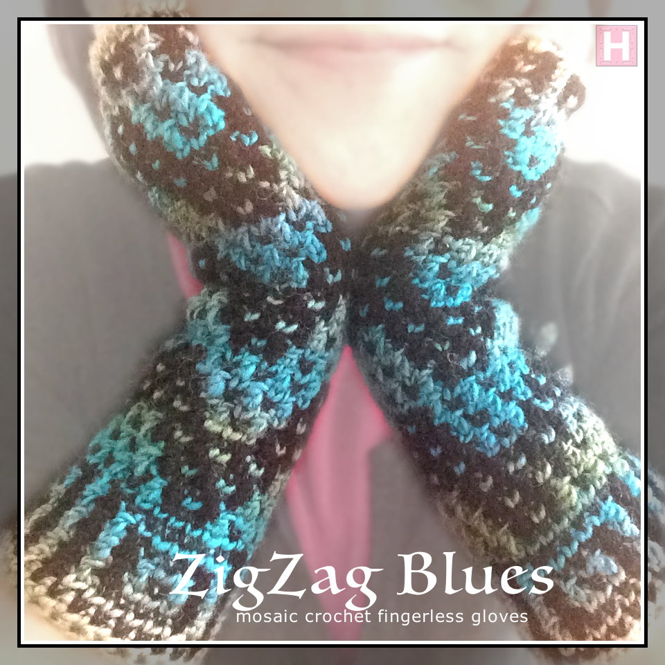 fingerless gloves zigzag blues CH0451-000