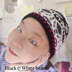 crochet beanie BW red - CH0458-001