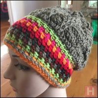 Slouchy Beanie – Frilly Top Crochet Beanie (CH0473)