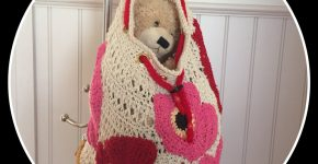 Crochet Hanging Storage Bag; Marimekko inspired, DIY notes (CH0498)