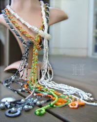 Bead Crochet Lariat Necklaces (CH0316a-c)